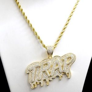 Other - 14k Gold Lab Diamond Iced Out Trap Charm Chain